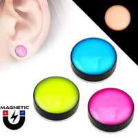 Fake Magnetic Ear Plugs - Dome Top - Black Acrylic - Glow in the Dark