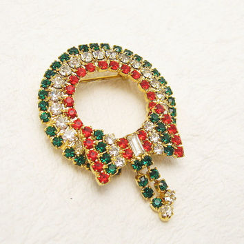Rhinestone Wreath Brooch Bow Christmas Jewelry P5743