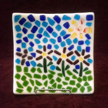 Mosaic Fused Glass Plate - Candle Holder - Flower -Blue  Green - Square Plate - Decorative Plate - Sushi Plate - Fused Glass Dish - Wall Art