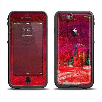 The Grungy Red Abstract Paint Skin Set for the Apple iPhone 6 LifeProof Fre Case
