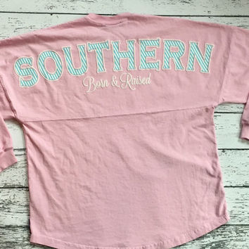 "Spirit Jersey adorable seersucker ""SOUTHERN Born & Raised""  hurry limited stock!!"