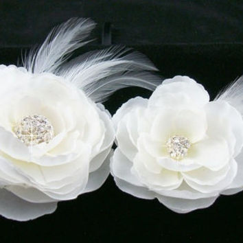 Bridal Hairpiece, Set of 2 Whimsical White Flowers, Rhinestone Hair Clip, White Flower Combs, Flower Brooch, Flower Shoe Clips, Wedding Cli