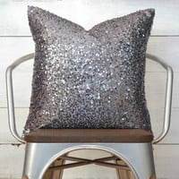 "Gray Throw Pillow - Gunmetal Silver Sequin - 20"" x 20"" - Decorative Pillow, Throw Pillow, Sequin Pillow, Sparkle Pillow"