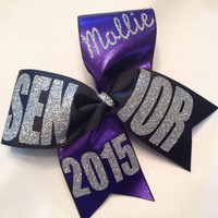 """Black Fancy Senior personalized 2015, 2016 etc with name cheer bow 3"""" ribbon"""