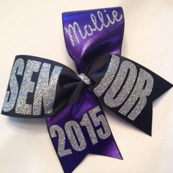 "Black Fancy Senior personalized 2015, 2016 etc with name cheer bow 3"" ribbon"