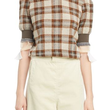 Toga Check Short Sleeve Sweater | Nordstrom