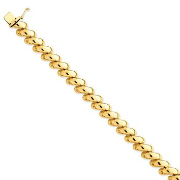 14K Yellow Gold Polished San Marco Necklace 17 Inch