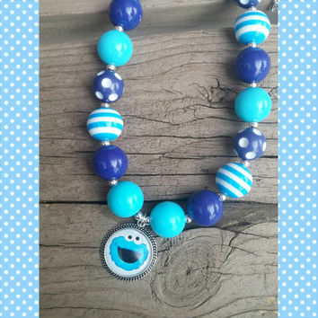 Cookie Monster Necklace - Cookie Monster Birthday - First Birthday - Blue Necklace - Sesame Street Birthday - Cookie Monster Costume - Photo