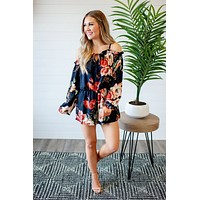 It's A Vibe Floral Romper (Navy)
