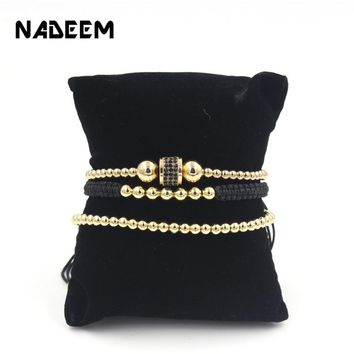 New Fashion 3Pcs/Sets Micro Pave CZ Tube Charm Bracelets Sets Gold Copper Beads Women Braiding Macrame Bracelet Sets Men Jewelry