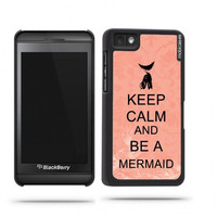 Keep Calm And Be A Mermaid Coral Floral Blackberry Z10 Case - For Blackberry Z10