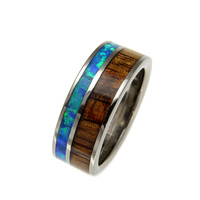 GENUINE INLAY HAWAIIAN KOA WOOD OPAL WEDDING BAND RING TITANIUM 8MM SIZE 8-14