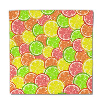"Colorful Citrus Fruits Micro Fleece 14""x14"" Pillow Sham All Over Print"