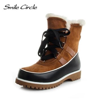 Smile Circle Women Winter Boots Mujer Botas Waterproof Genuine Leather Snow Boots Women Ankle Boots Wedges platform Shoes