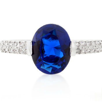 Harla Sapphire Blue Oval Cut Solitaire Engagement Ring | 2.2ct | Cubic Zirconia | Silver