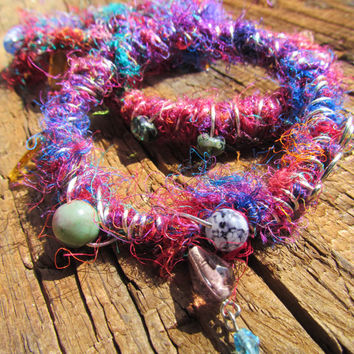 Upcycled, Repurposed Bangles - Bohemian jewelry - Colorful Stacking Bracelets - Boho Chic Silk Sari Wire Wrapped Beaded Bangles