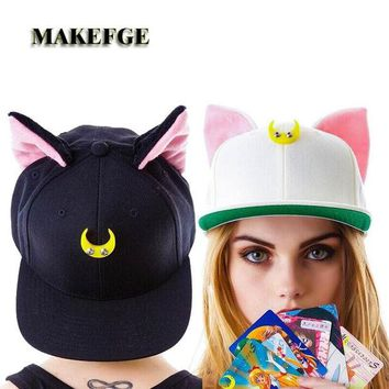 ONETOW Sailor Moon Cat Cap Snapback Ears Gorras Planas Hip Hop Hat Devil Horns Sunshade Casquette Baseball Cap  Maiden Warrior Luna Cut