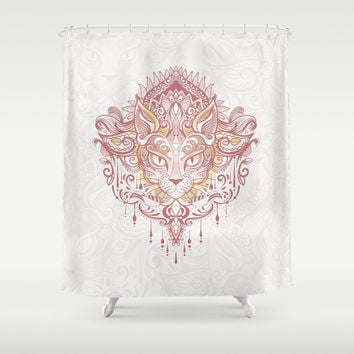 Cat mandala Shower Curtain by printapix