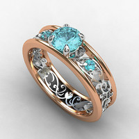 Aquamarine engagement ring, filigree ring, rose gold, white gold, blue engagement, unique, wedding ring, red gold, aquamarine filigree