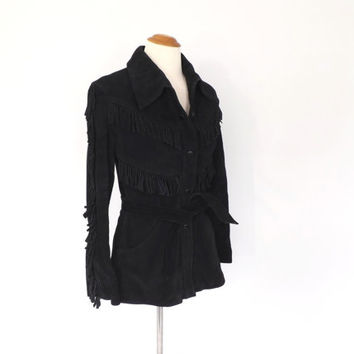 Vintage Black Suede Leather Fringe Jacket 1970s 80s Motorcycle Biker Coat Hippie Boho Southwestern Suede Coat Native American Fringe Jacket