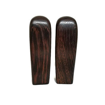 Wood Salt and Pepper Shakers Tall Dark Wooden Mid Century Modern Rectangular