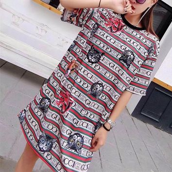 """""""Gucci"""" Personality Multicolor Stripe Wolf Tiger Cat Head Print Short Sleeve T-shirt Dress"""