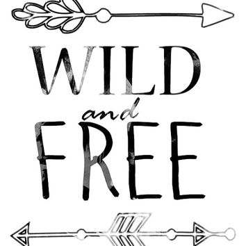 Wild and free - Digital print Arrow printable Wild and free design Watercolor print Watercolor art Arrow print Typographic print Typography