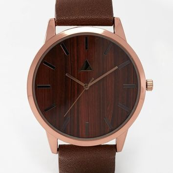 ASOS Watch with Wood Effect in Brown