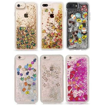 For iPhone XS Max XR X Luxury Glitter Dynamic Quicksand Heart Pizza Minions Emoji TPU Edge Cover Case For iPhone 8 6 6S 7 Plus