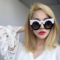 2017 fashion sexy round cat eye sunglasses gradient white black big ladies sun glasses for women cat eye luxury oculos