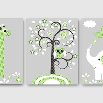 Baby Boy Nursery Kids Wall Art Baby Nursery Decor Baby Room Decor Kids Art Boy Print Elephant Nursery Giraffe Nursery set of 3 8x10 owl gray