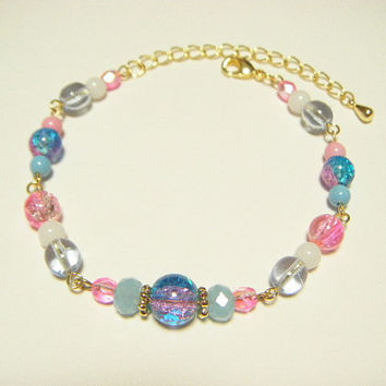 Blue and pink bracelet, mermaid color bracelet, beaded bracelet, jewelry for summer, gift for her, kawaii bracelet, jewelry for her, ooak.