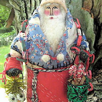 "OOAK Primitive Folk Art Santa ""Paper Chain & Candy Canes""--Original Design Handcrafted from Olde Quilt with Handmade Adornments"
