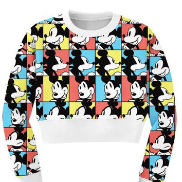 Women's Mickey Mouse Collage Sports Crop Top Fitness Sweatshirt