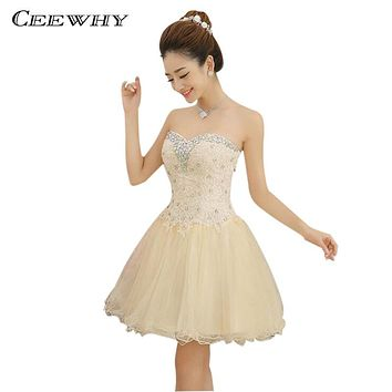 Champagne Tulle Beading Sweetheart Strapless Ball Gown Crystal Short Pary Dress Formal Gown Above Knee robe de Cocktail Dresses