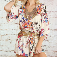 3/4 Sleeve Floral Romper - Cream