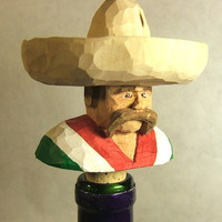 Hand Carved Wood Mexican Bandito Bottle Stopper
