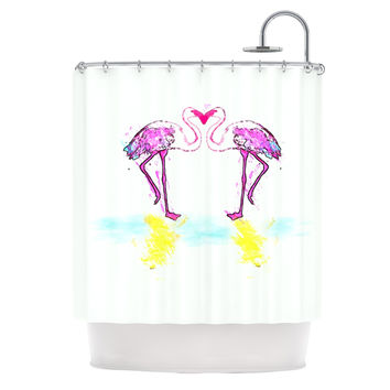 "Oriana Cordero ""Pink Love"" Flamingo Shower Curtain"