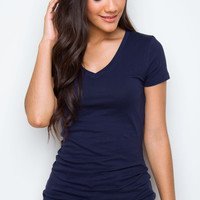 Allie Classic V-Neck Tee - Navy