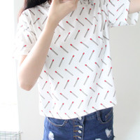 "White ""Match"" Print Short Sleeve Shirt"