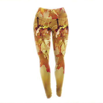 "Angie Turner ""Autumn Leaves"" Vibrant Orange Yoga Leggings"