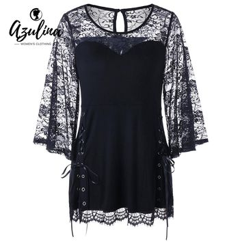 Women Lace Panel Lace Up Tops Gothic Style Fashion Round Neck Long Sleeves Blouses