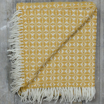 Lifestyle New Wool Blanket in English Mustard Cobweave