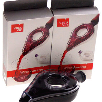 Vacu Vin Wine Aerator Lot 2 Add Oxygen Portable Travel Pour Spout Pourer Plastic