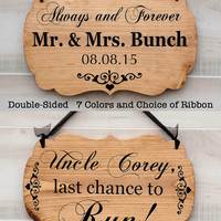 Personalized Double Sided romantic wedding wood sign - 7 colors. Flower Girl or Ring Bearer sign. Vintage Rustic Country Chic Wedding Decor