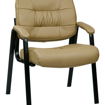 Office Star Bonded Leather Visitors Chair with Steal Base and Padded Arms (Tan) [EC8124-EC21]
