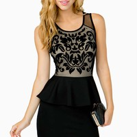 Flocked Damask Peplum Dress