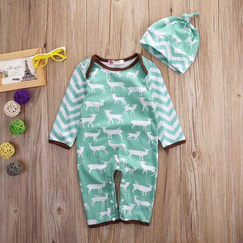 Baby Boys Girls Infants Newborn Rompers Clothes Cute Animals Cotton Playsuits Hat Outfit Set Baby Clothing 0-18M