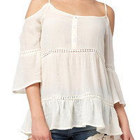 Girls Cold Shoulder Peasant Top with Crochet Insert