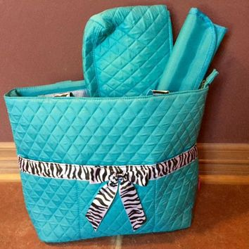 Princess Adorable Turquoise  Zebra Diaper Bag.